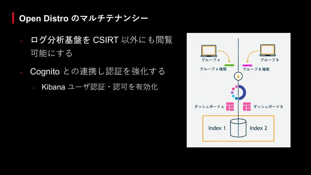 - ログ分析基盤を CSIRT 以外にも閲覧 可能にする - Cognito との連携し認証を...