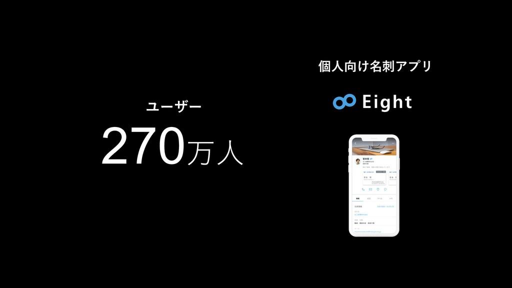 個⼈向け名刺アプリ ユーザー 270万⼈