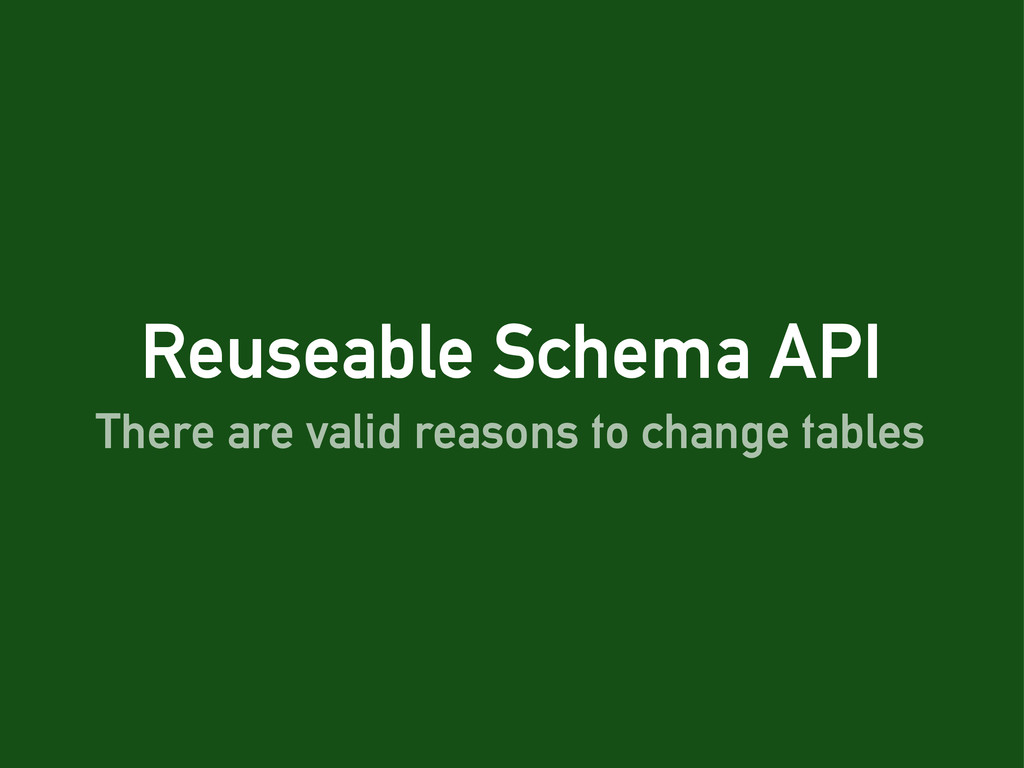 Reuseable Schema API There are valid reasons to...