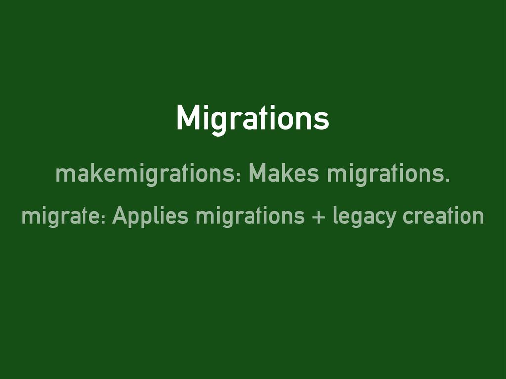 Migrations makemigrations: Makes migrations. mi...