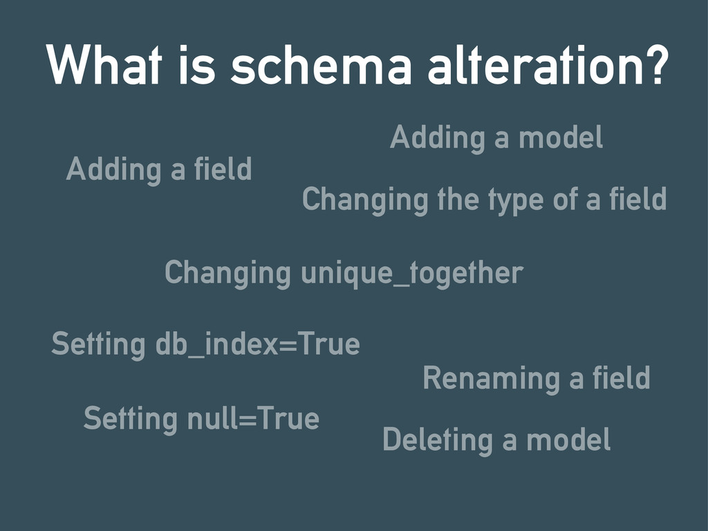 Adding a field What is schema alteration? Chang...