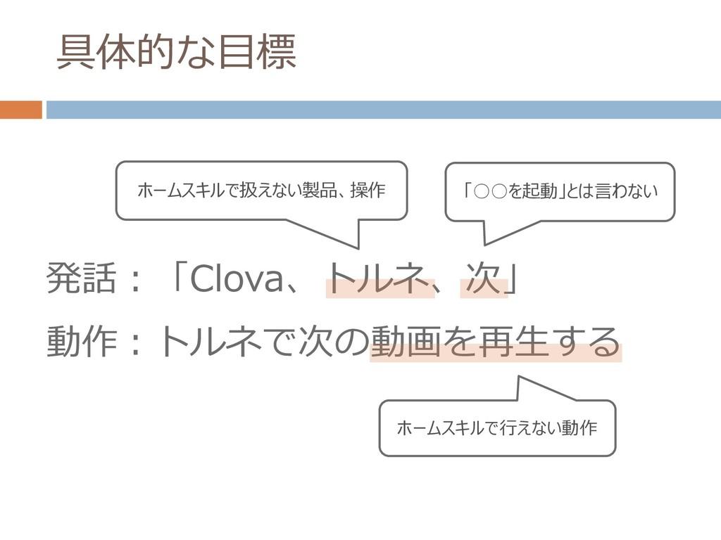 具体的な目標 発話:「Clova、トルネ、次」 動作:トルネで次の動画を再生する 「○○を起動...