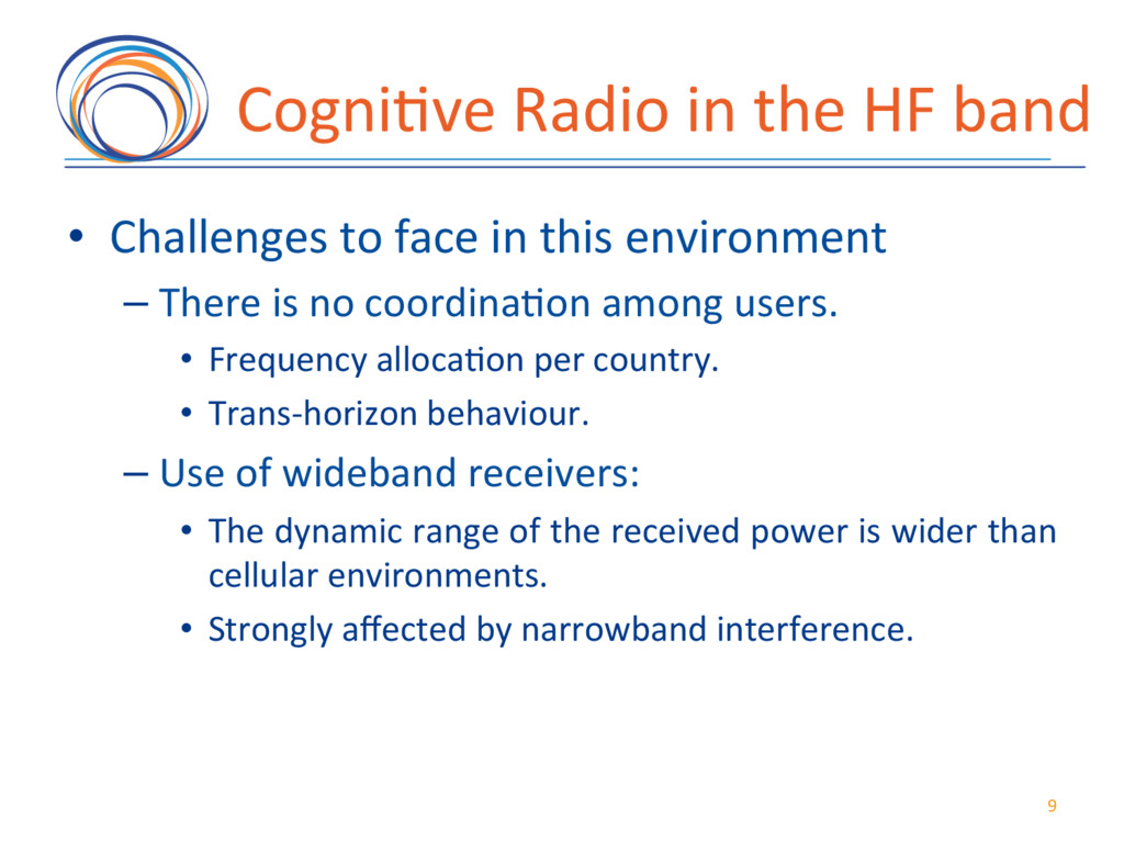 Cogni7ve(Radio(in(the(HF(band( • Challenges(to...