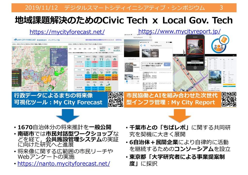 2019/11/12 デジタルスマートシティイニシアティブ・シンポジウム 3 ⾏政データによる...