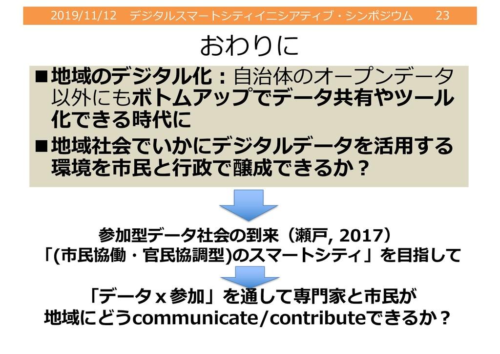 2019/11/12 デジタルスマートシティイニシアティブ・シンポジウム 23 おわりに n地...