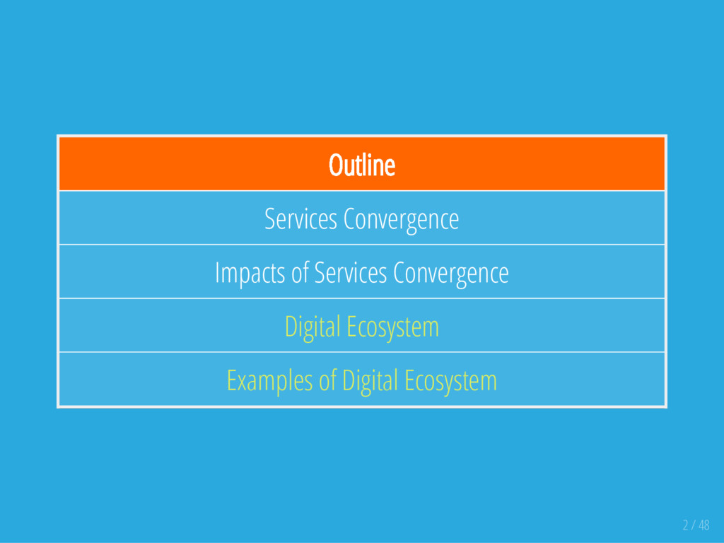 Outline Services Convergence Impacts of Service...