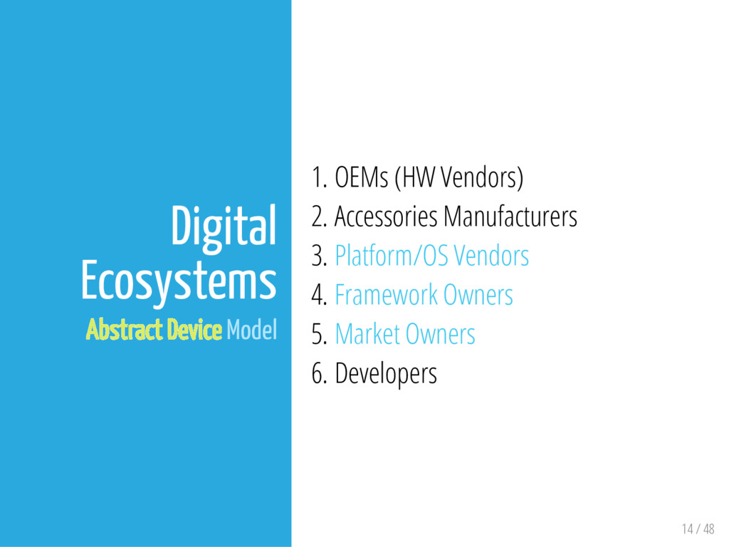 14 / 48 Digital Ecosystems Abstract Device Mode...