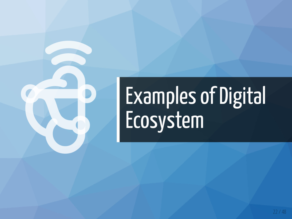   Examples of Digital Ecosystem 22 / 48