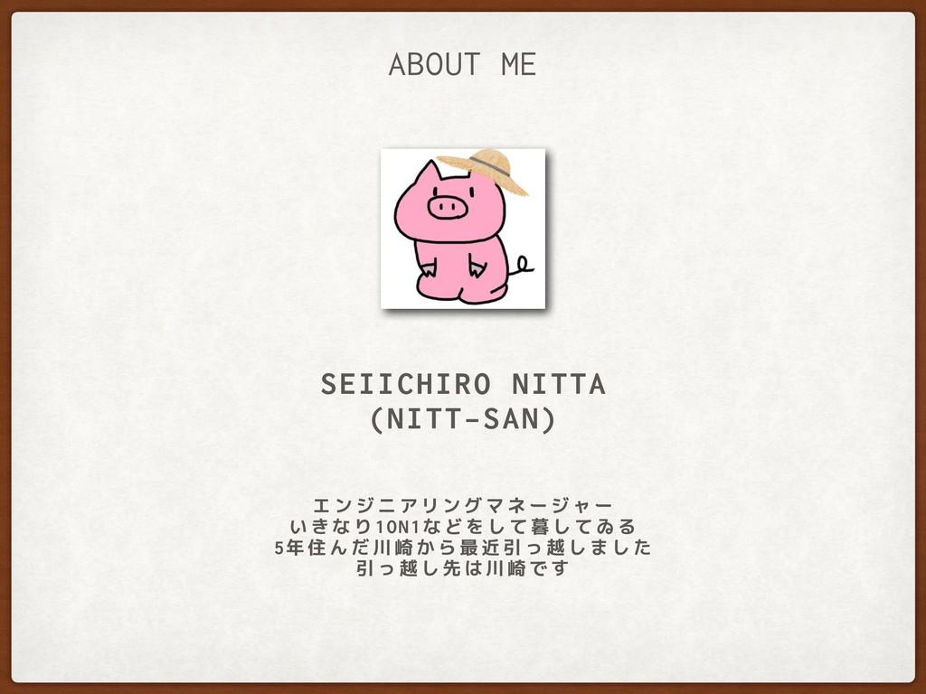 SEIICHIRO NITTA (NITT-SAN) ABOUT ME エンジニアリングマネー...