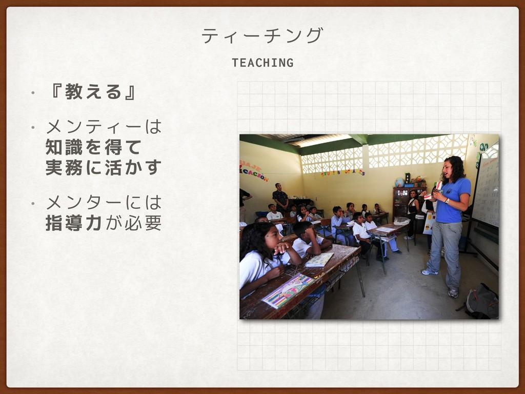 TEACHING ティーチング • 『教える』 • メンティーは 知識を得て 実務に活かす...