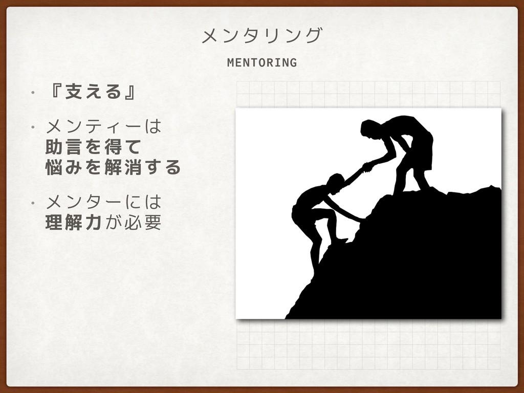 MENTORING メンタリング • 『支える』 • メンティーは 助言を得て 悩みを解消...