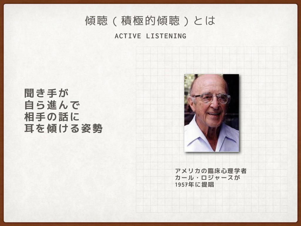 ACTIVE LISTENING 傾聴(積極的傾聴)とは 聞き手が 自ら進んで 相手の話に...