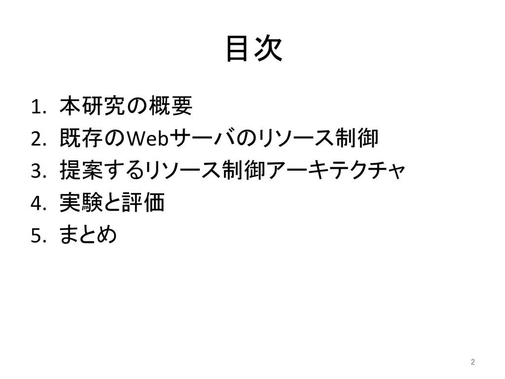目次 1. 本研究の概要  2. 既存のWebサーバのリソース制御  3....