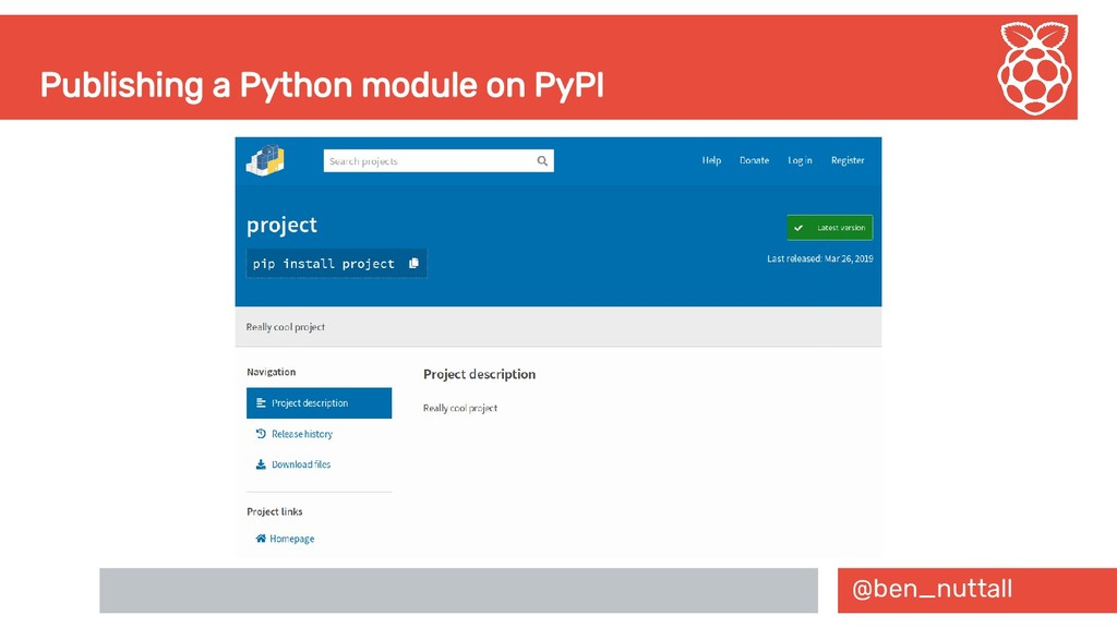 @ben_nuttall Publishing a Python module on PyPI
