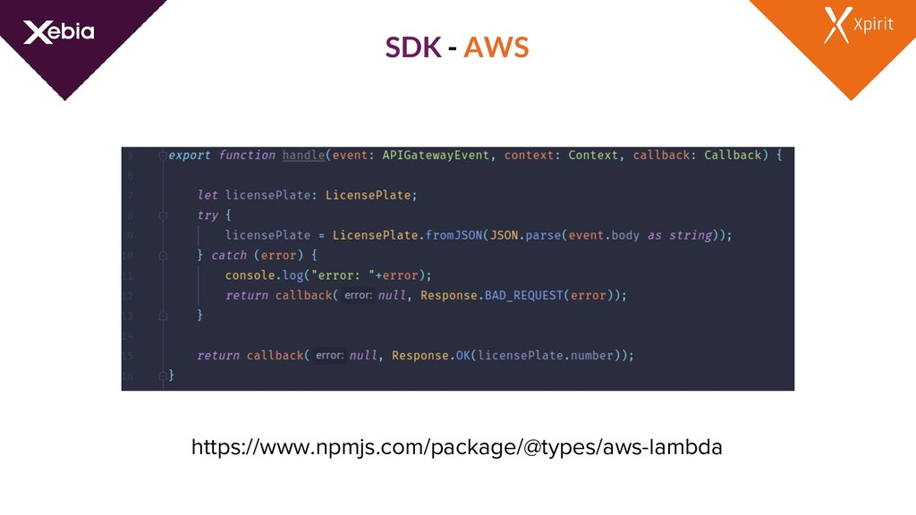 SDK - AWS https://www.npmjs.com/package/@types/...