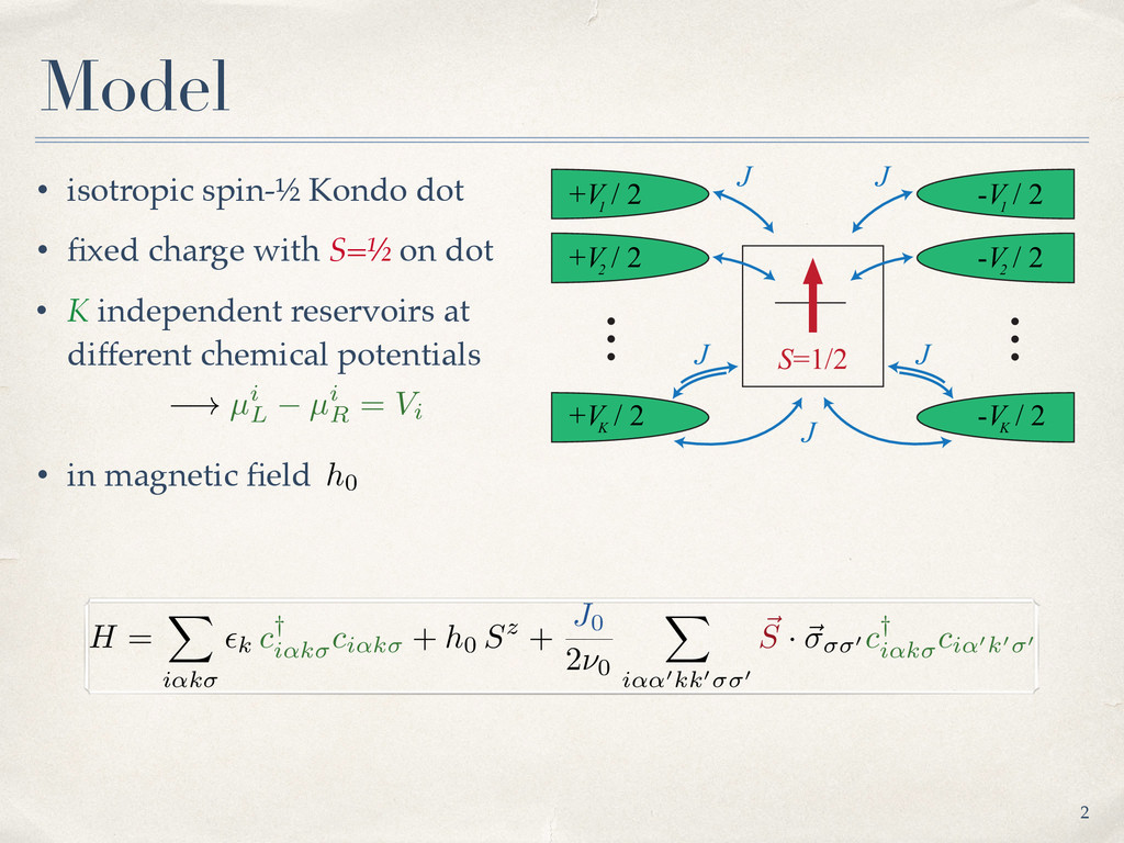 • isotropic spin-½ Kondo dot • fixed charge with...