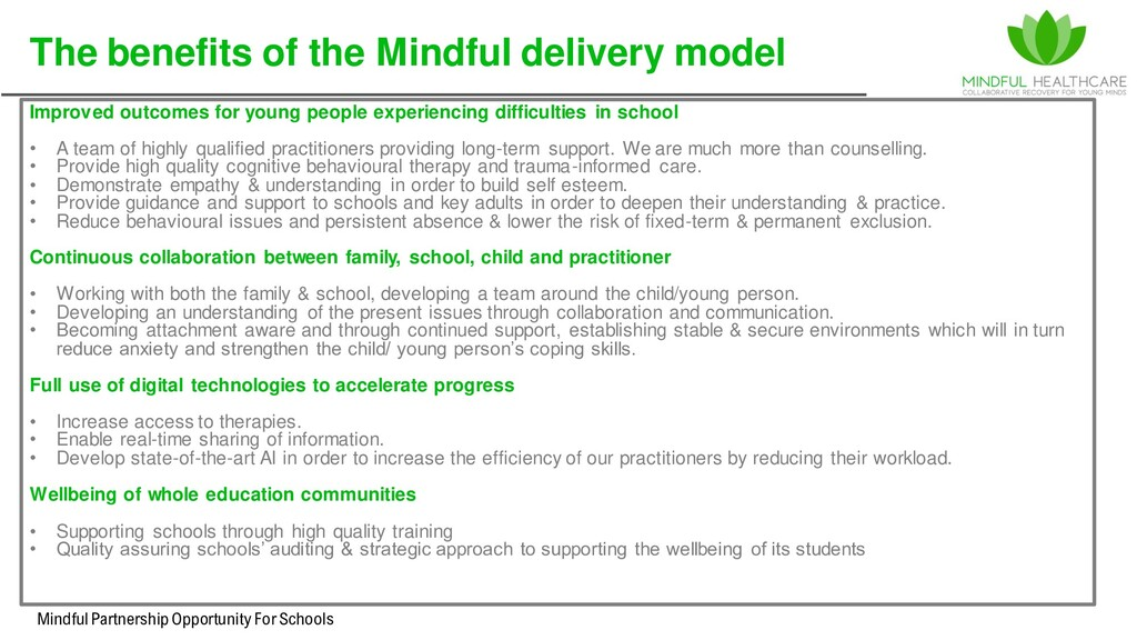 Mindful Partnership Opportunity For Schools The...