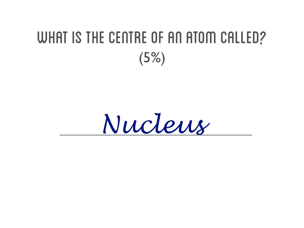 What is the centre of an atom called? (5%) Nucl...