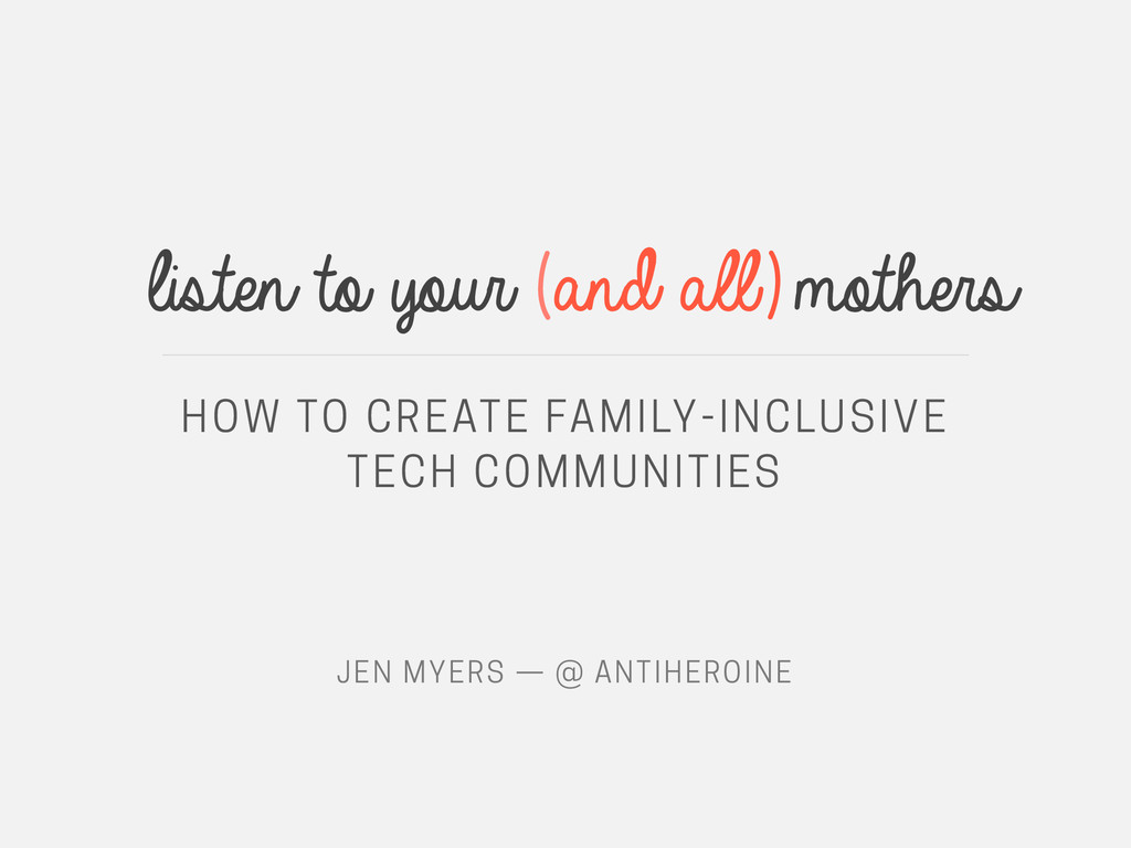 listen to your (and all)mothers HOW TO CREATE F...