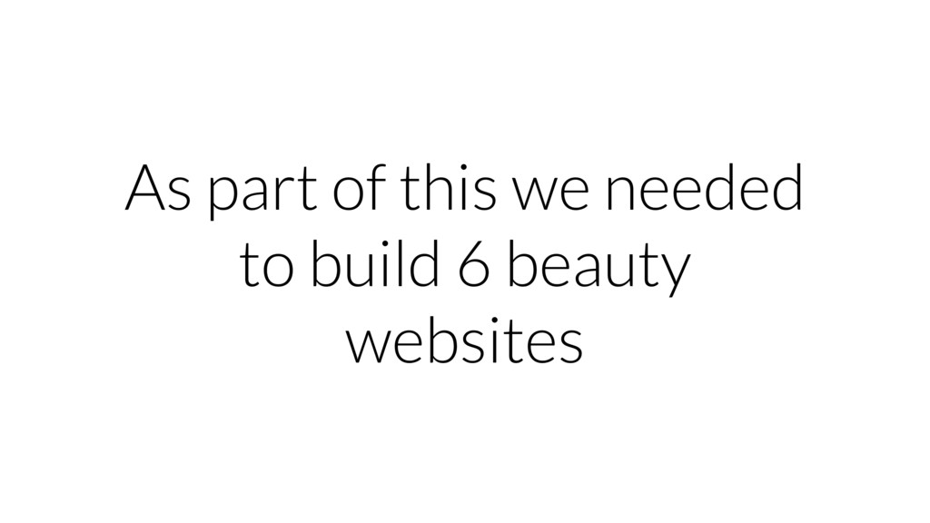 As part of this we needed to build 6 beauty web...