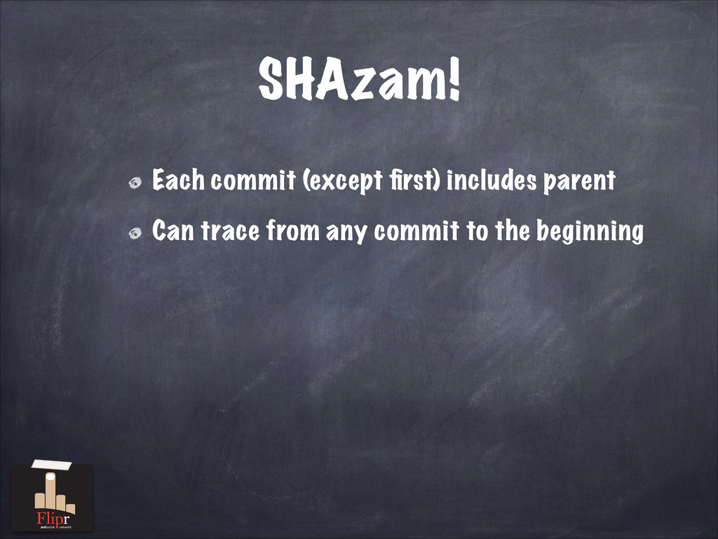 SHAzam! Each commit (except first) includes pare...