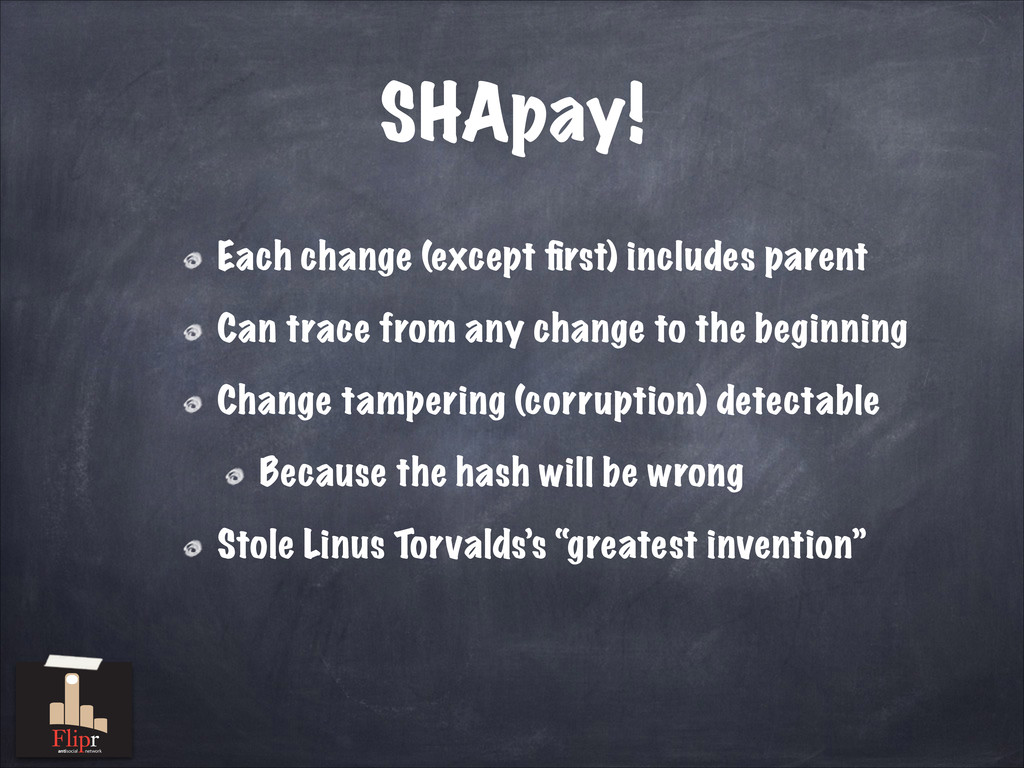 SHApay! Each change (except first) includes pare...