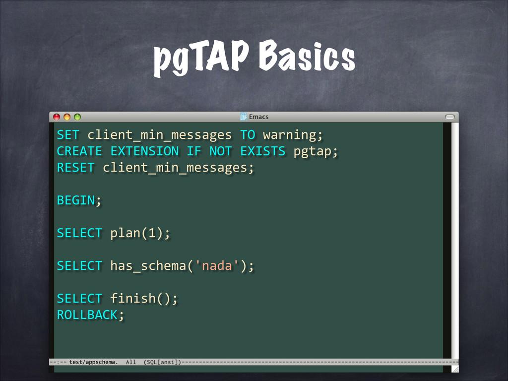 test/appschema. pgTAP Basics SET client_min_...