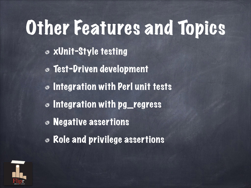 Other Features and Topics xUnit-Style testing T...