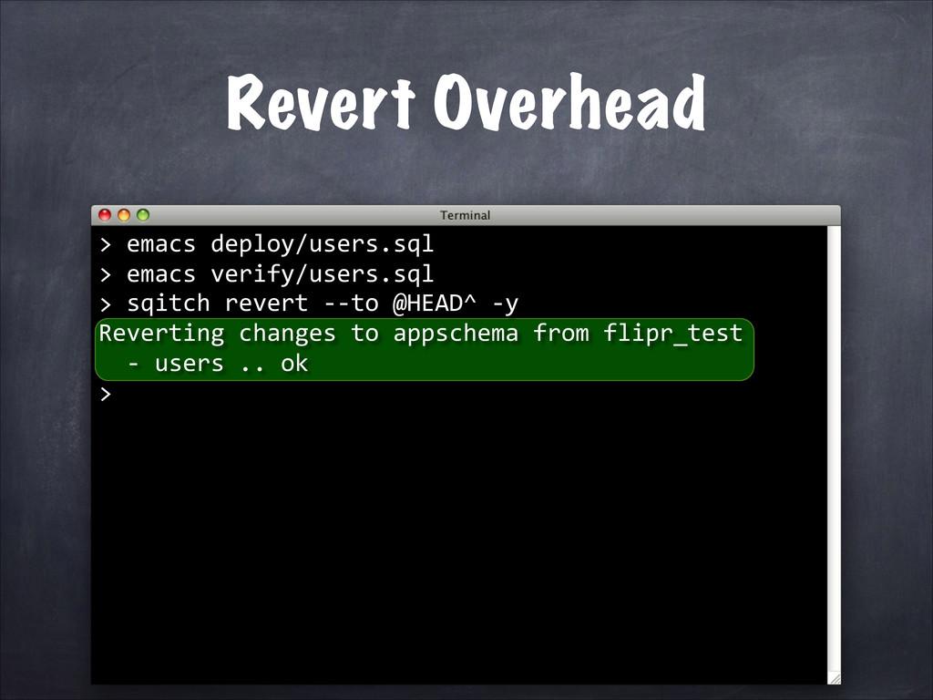 Revert Overhead   sqitch revert -‐...