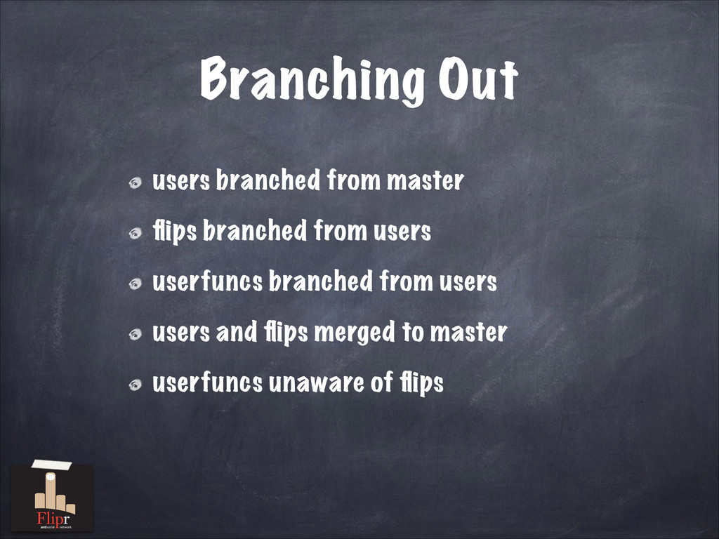 Branching Out users branched from master flips b...