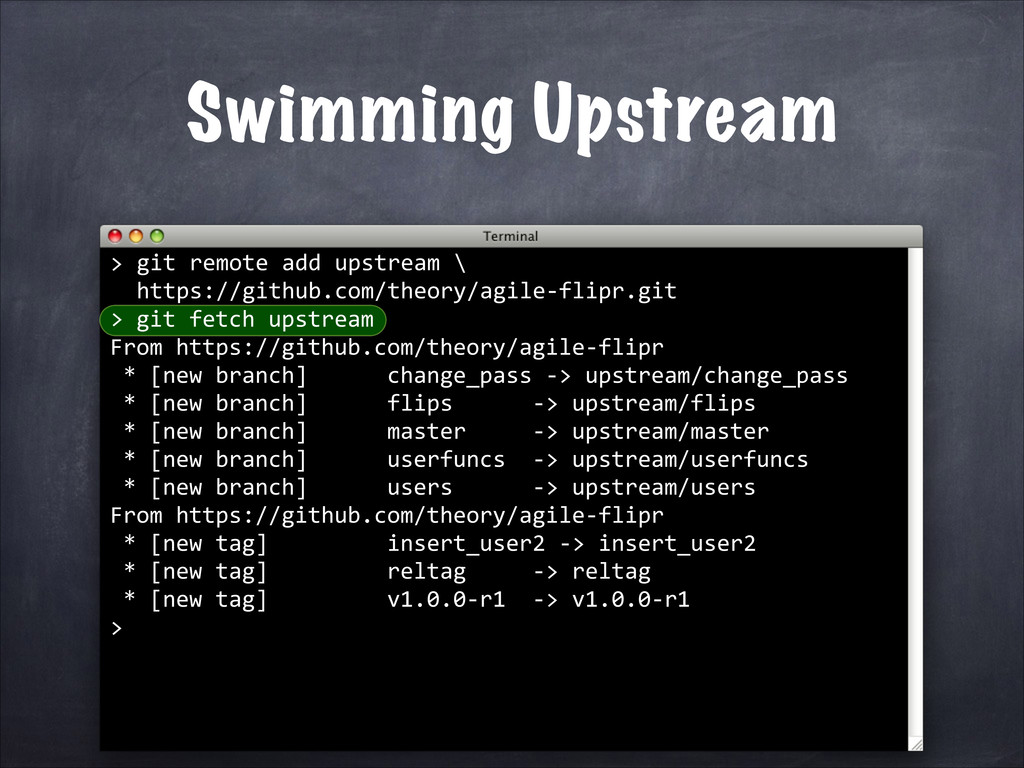 git remote add upstream \ https://github.com/th...