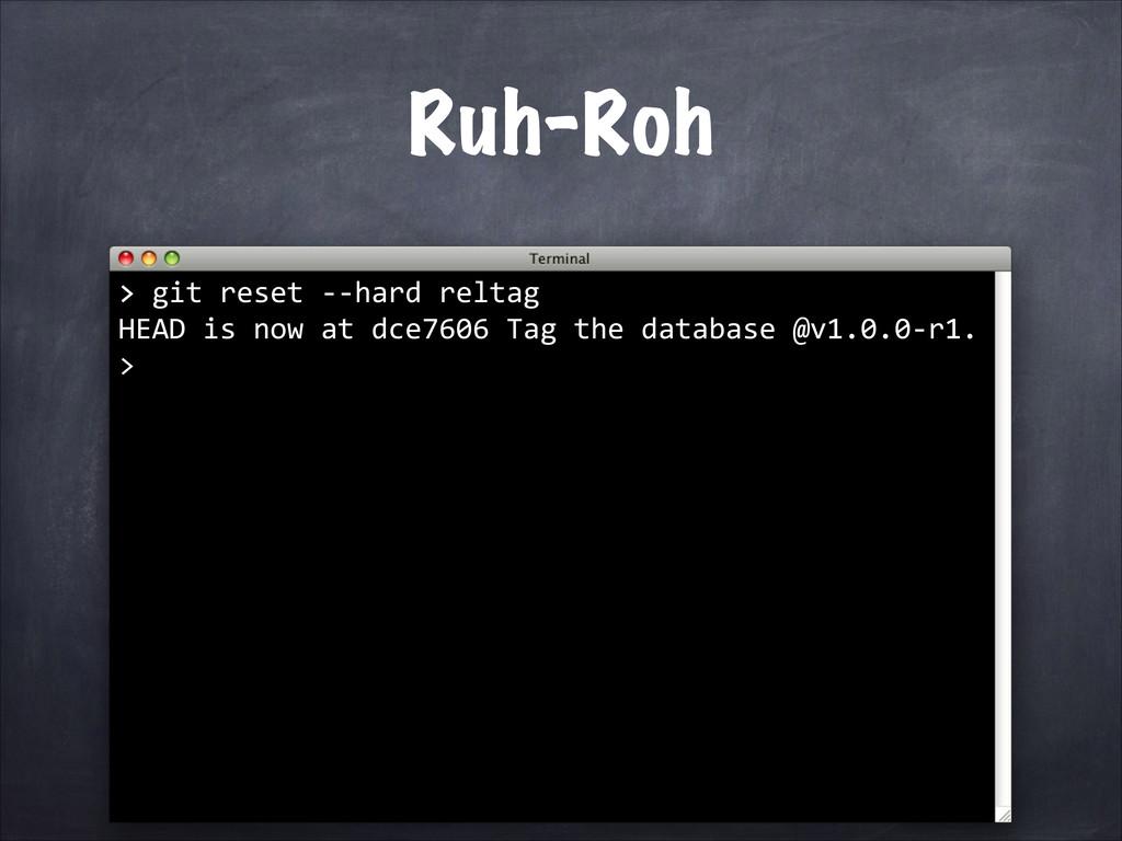 Ruh-Roh > > git reset -‐-‐hard re...