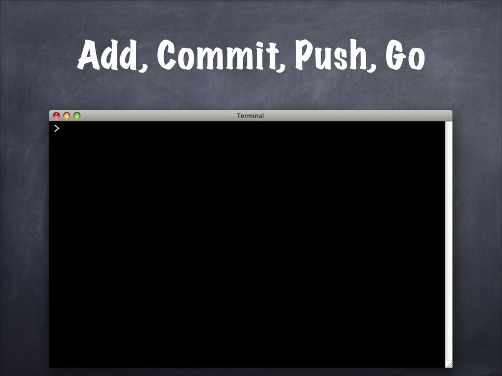 Add, Commit, Push, Go >