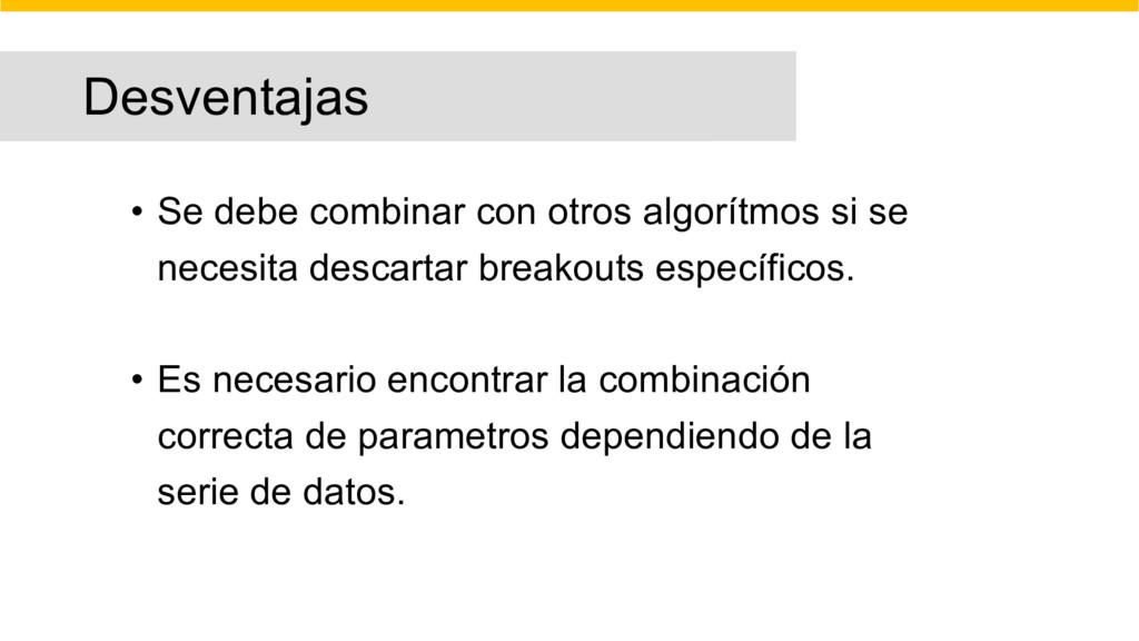 Desventajas • Se debe combinar con otros algorí...