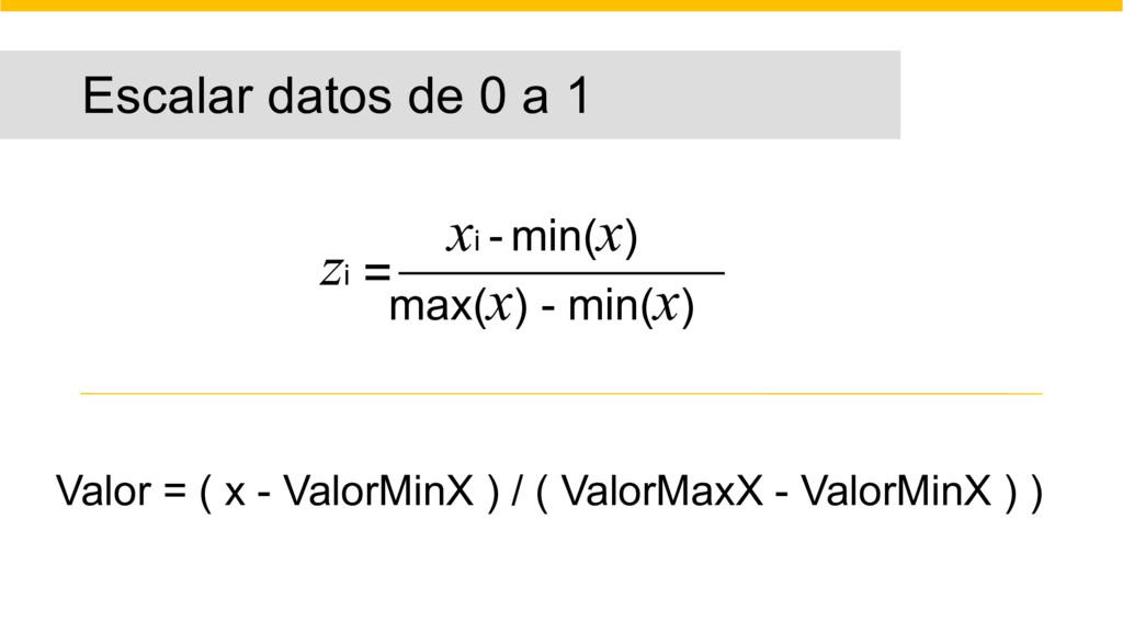Escalar datos de 0 a 1 zi = xi - min(x) max(x) ...