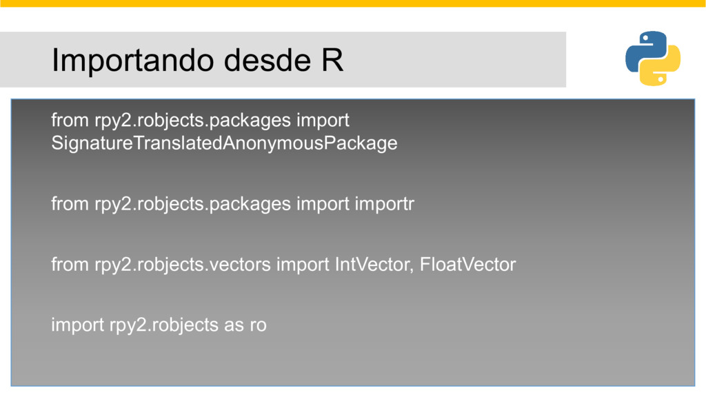 Importando desde R from rpy2.robjects.packages ...