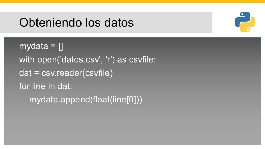 Obteniendo los datos mydata = [] with open('dat...