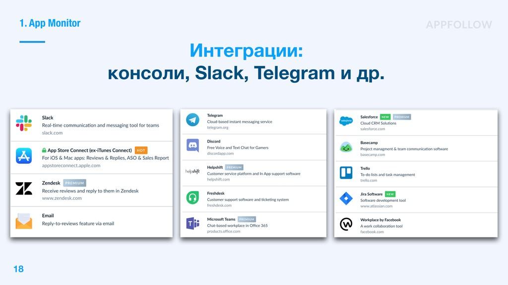 Интеграции: консоли, Slack, Telegram и др. 1. A...