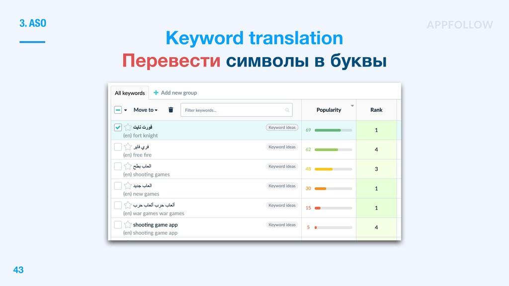 Keyword translation Перевести символы в буквы 3...