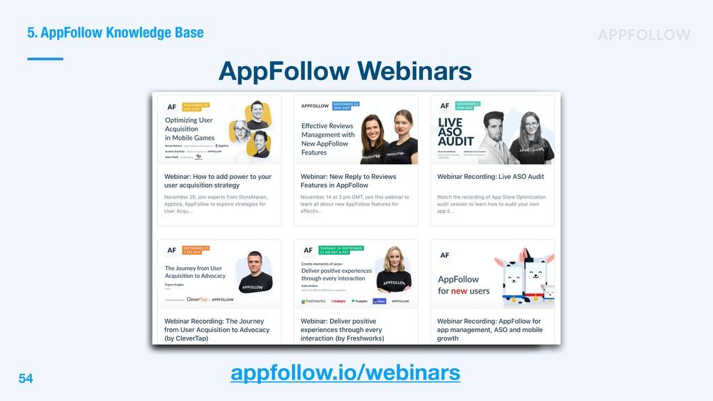 AppFollow Webinars 5. AppFollow Knowledge Base ...