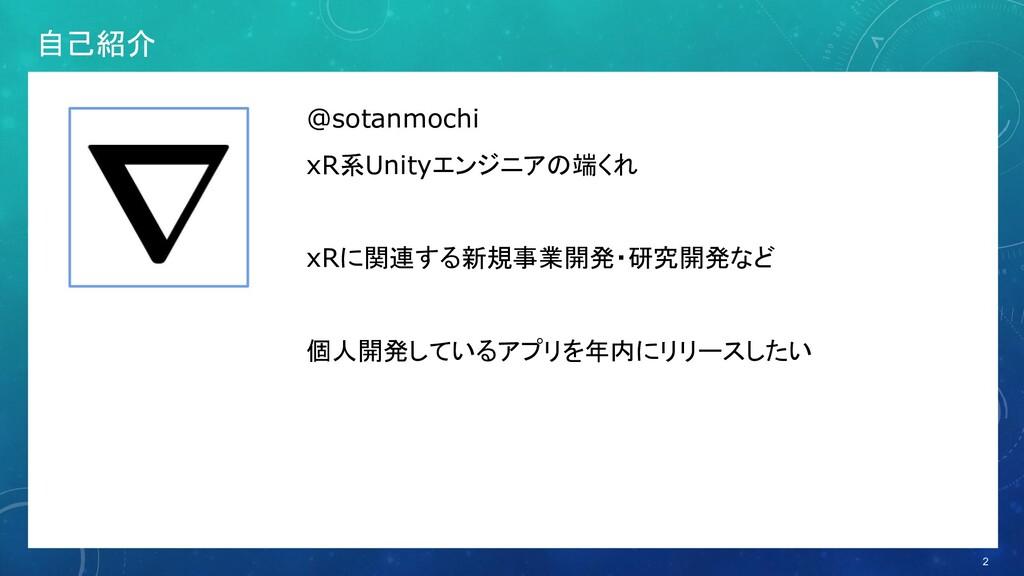 自己紹介 2 @sotanmochi xR系Unityエンジニアの端くれ xRに関連する新規事...