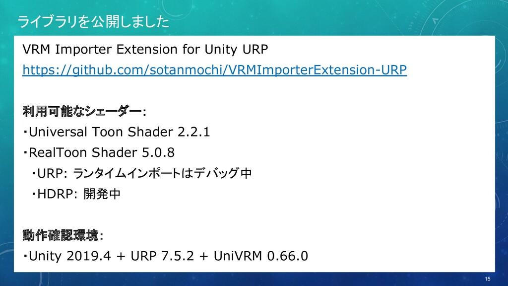 ライブラリを公開しました VRM Importer Extension for Unity U...