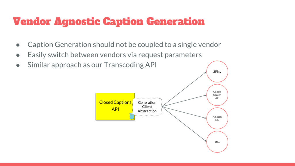 Vendor Agnostic Caption Generation ● Caption Ge...