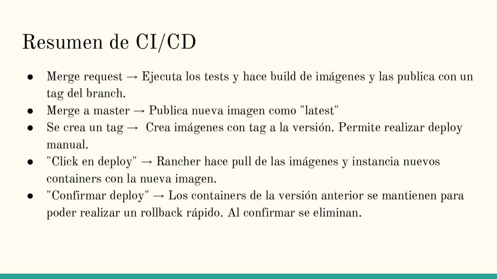 Resumen de CI/CD ● Merge request → Ejecuta los ...