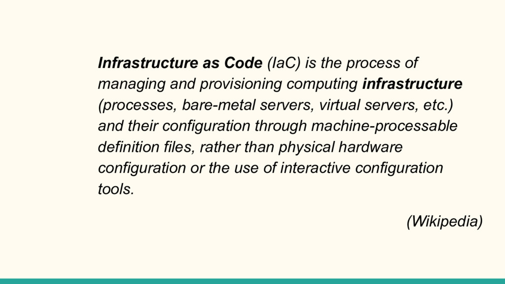 Infrastructure as Code (IaC) is the process of ...