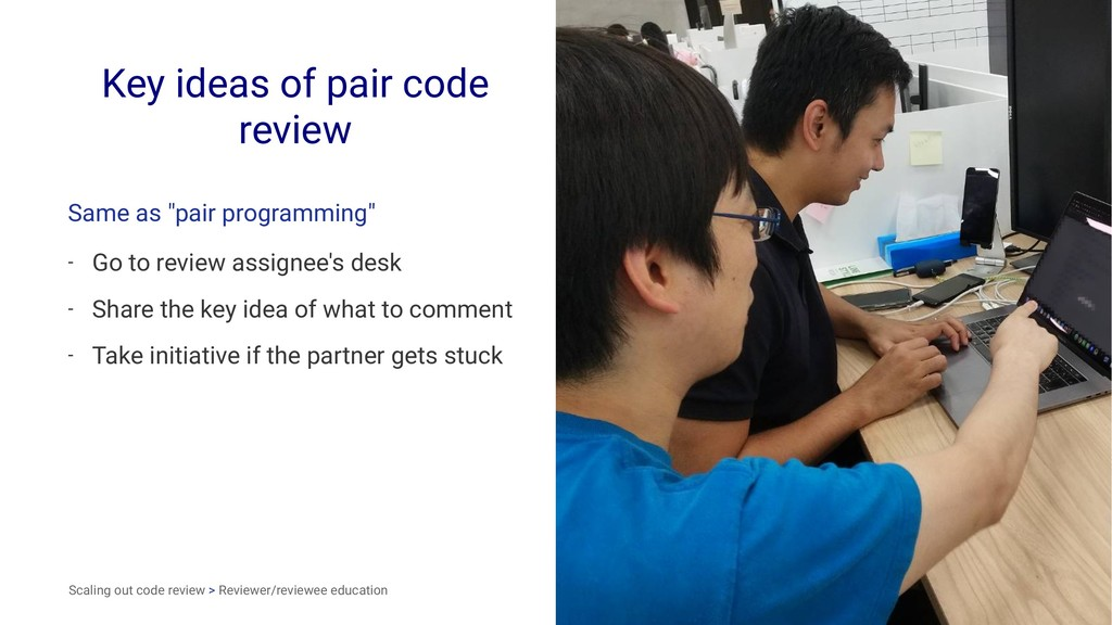 "Key ideas of pair code review Same as ""pair pro..."