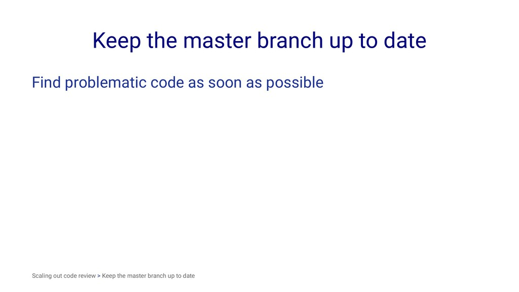Keep the master branch up to date Find problema...