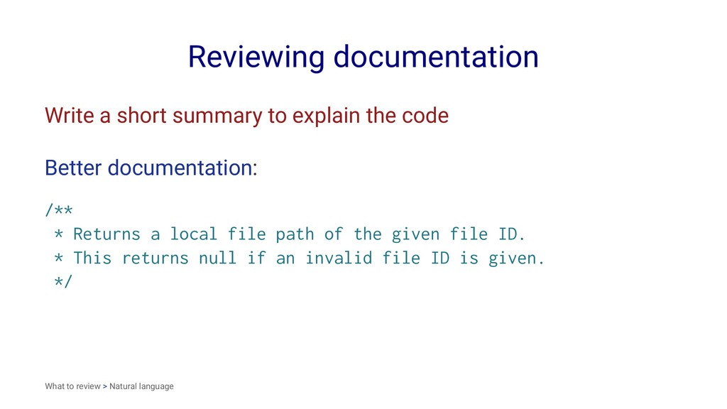 Reviewing documentation Write a short summary t...