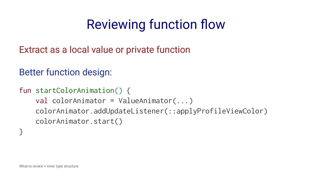 Reviewing function flow Extract as a local value...
