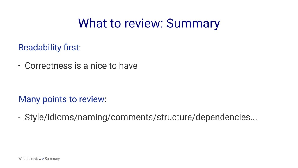 What to review: Summary Readability first: - Cor...